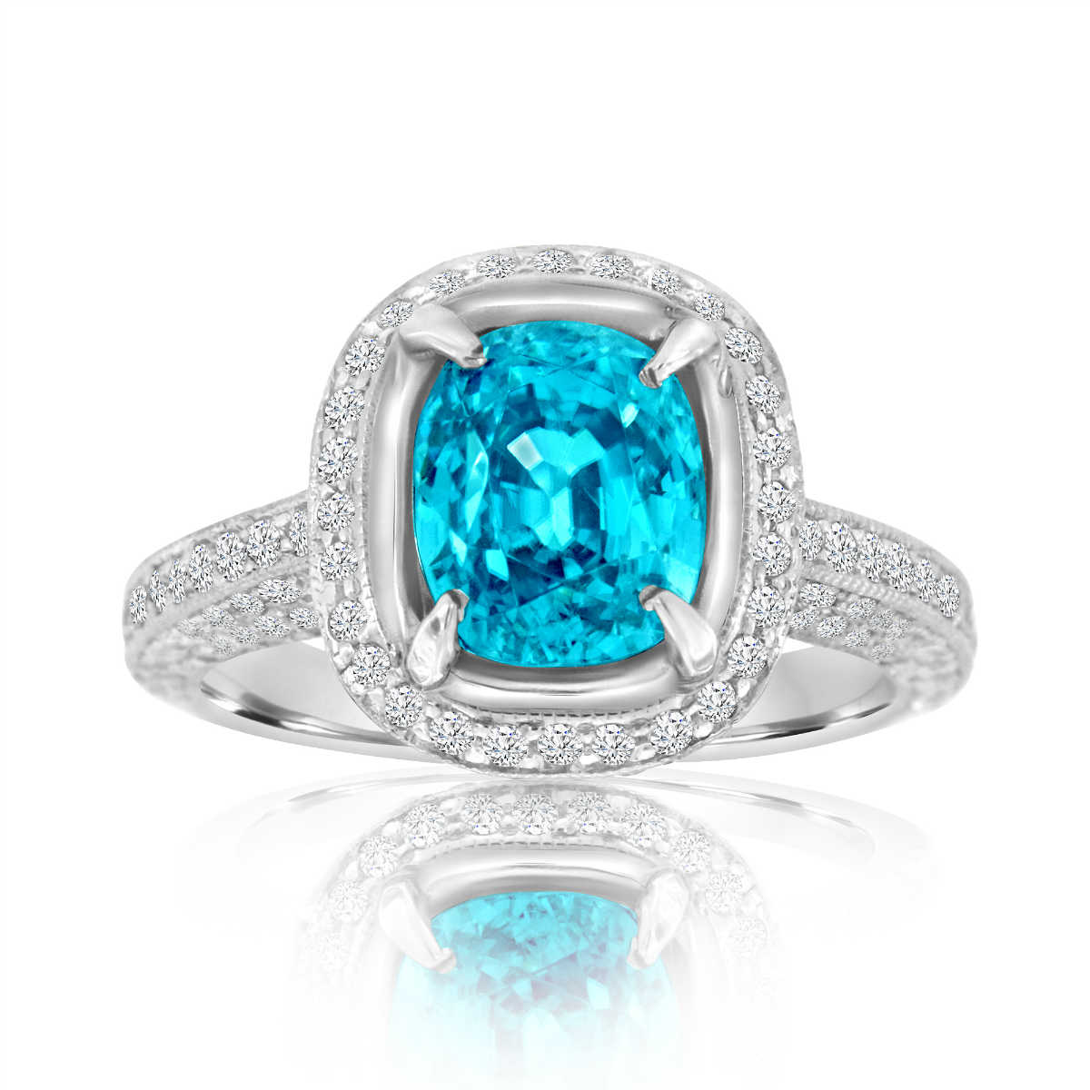 Platinum Cushion Blue Zircon  & Diamond Halo Ring ( Center- 4.38 Carat)