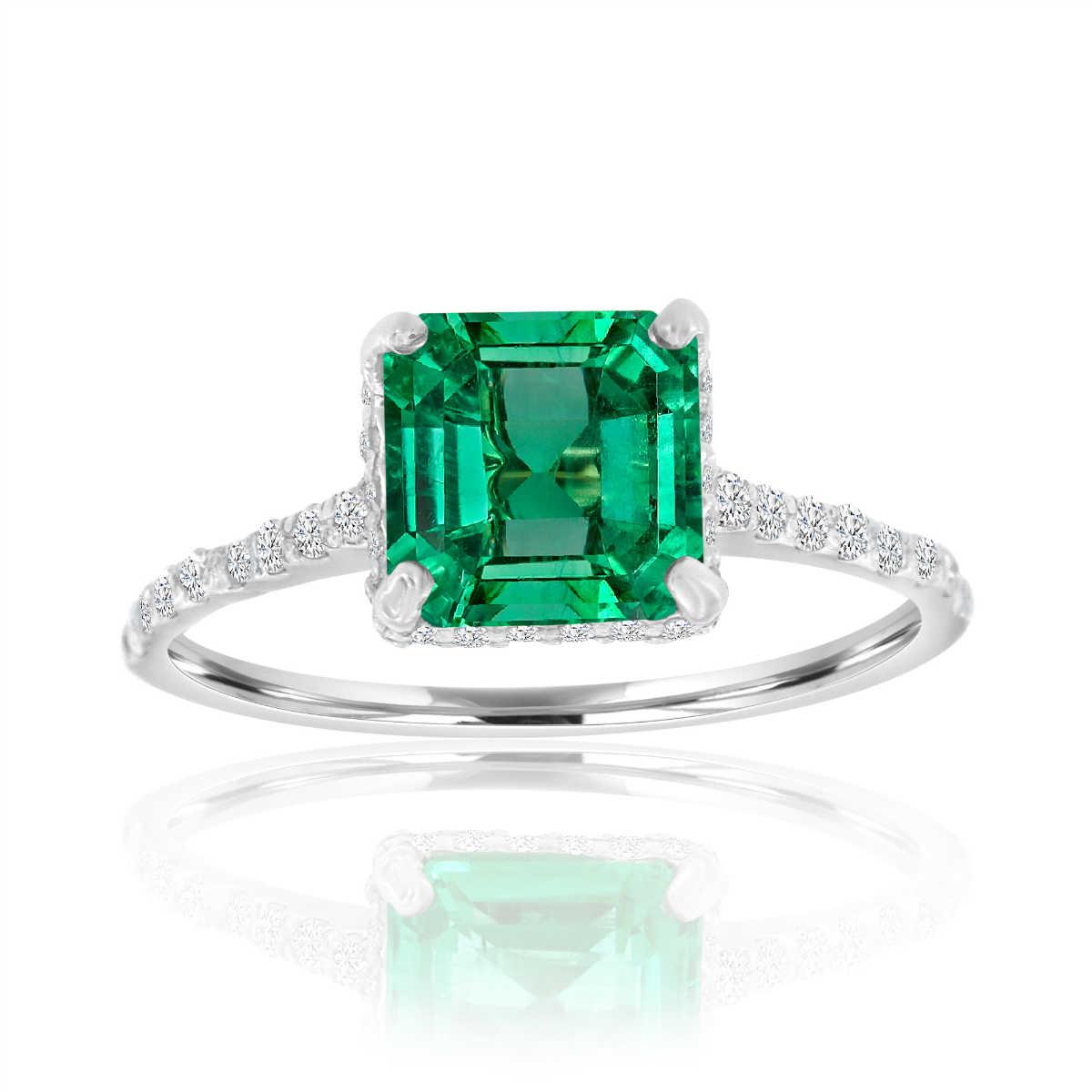Platinum Asscher Green Emerald Diamond Ring ( center-1.79 Carat)