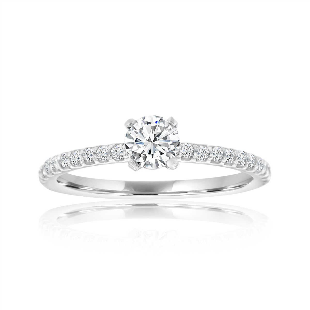 14K White Gold Petite Diamond Ring ( Center-0.37 Carat)