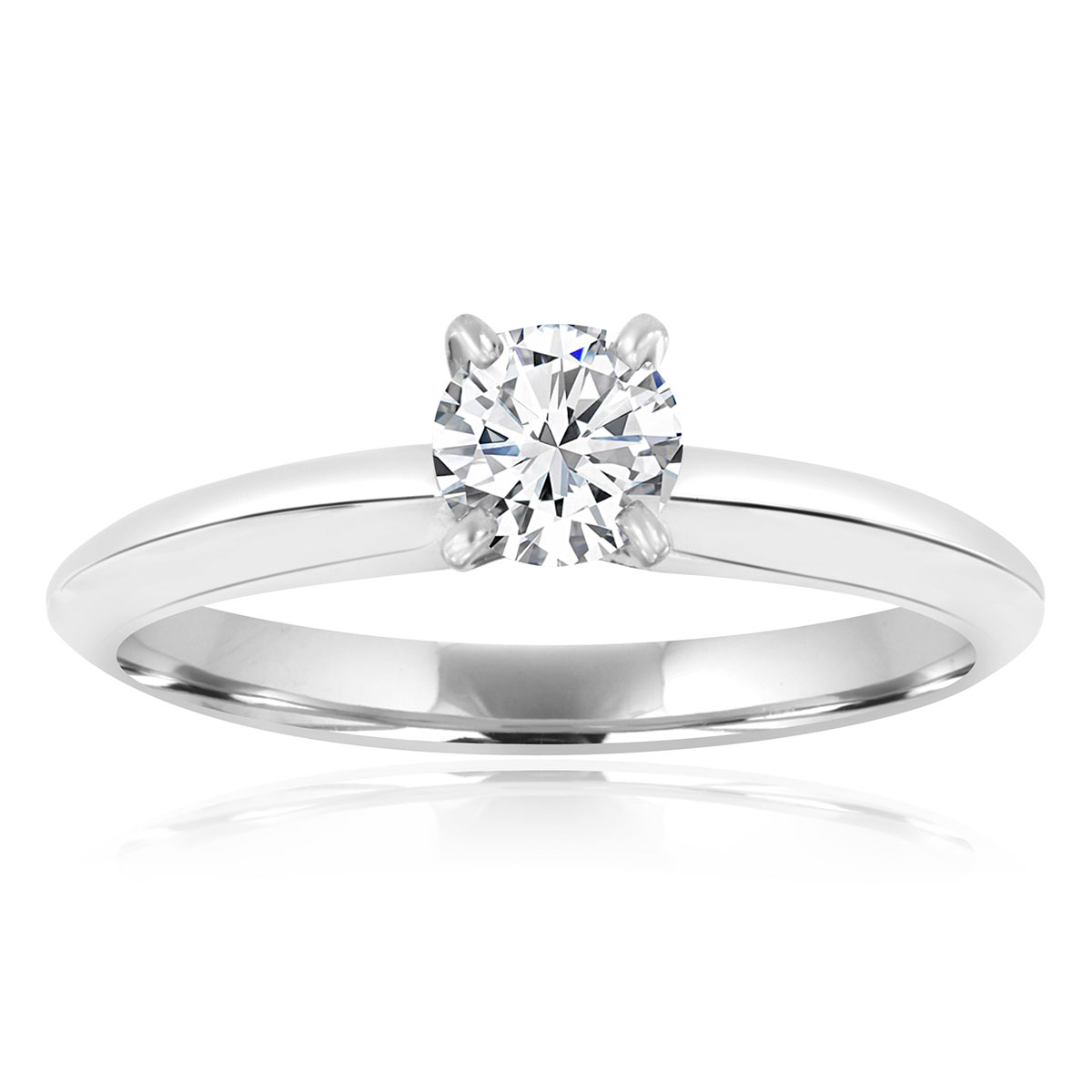 14K White Gold Four Prong Solitaire Diamond Ring ( Center-0.37 Carat)