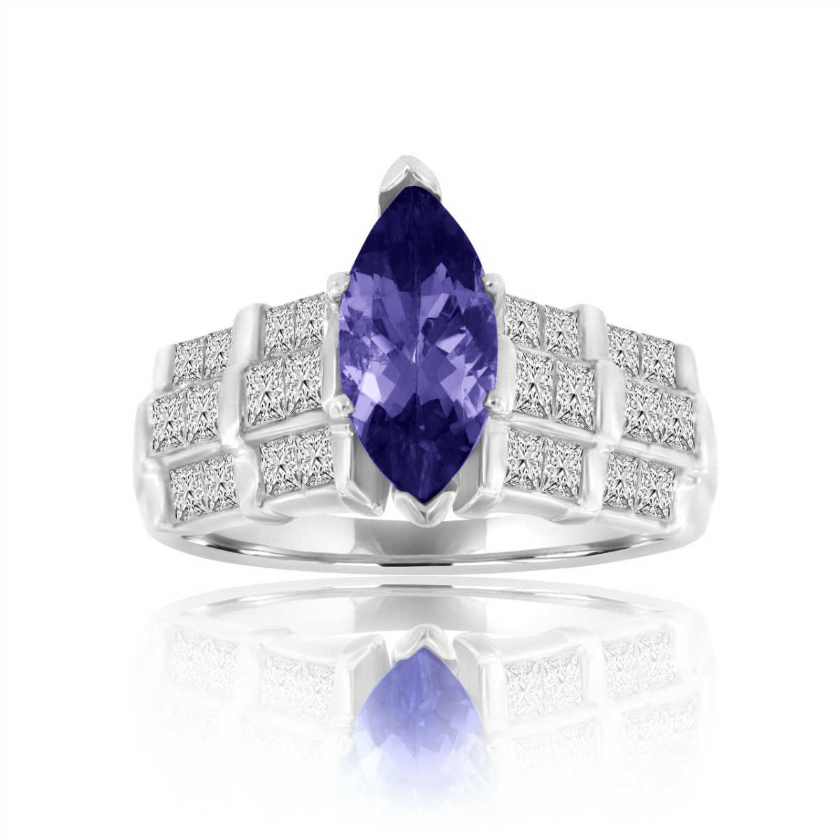 Platinum Marquise Shape Purplish Tanzanite & Diamond Ring ( Center- 1.99 Carat)