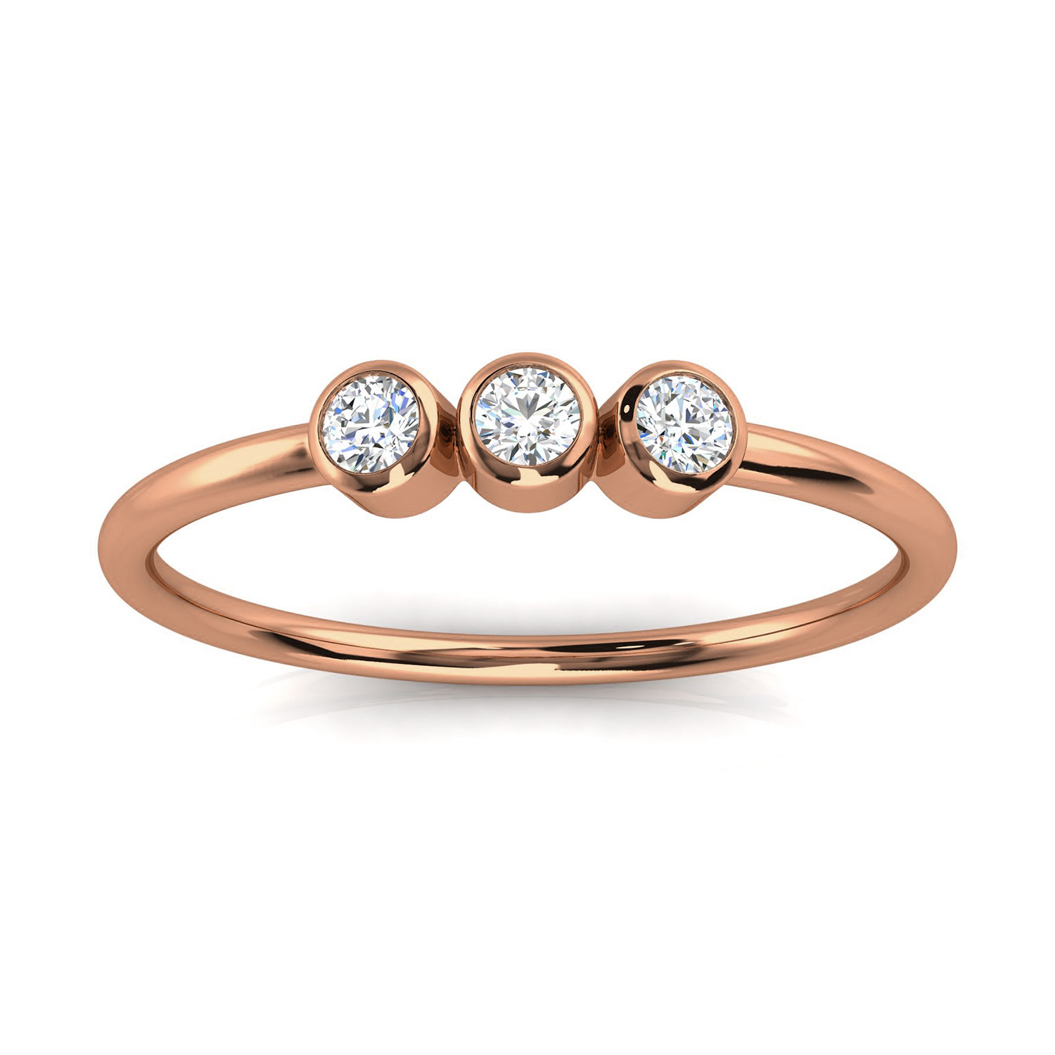 14K Rose Gold Petite Almenthia Trilogy Diamond Ring ( 1/10 ct. tw)