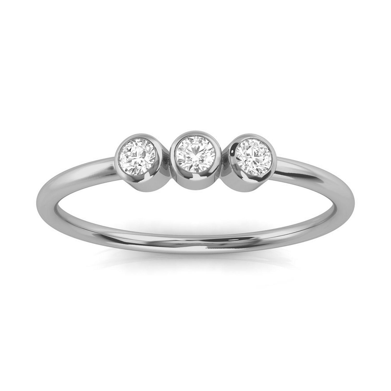 Platinum Petite Almenthia Trilogy Diamond Ring ( 1/10 ct. tw)