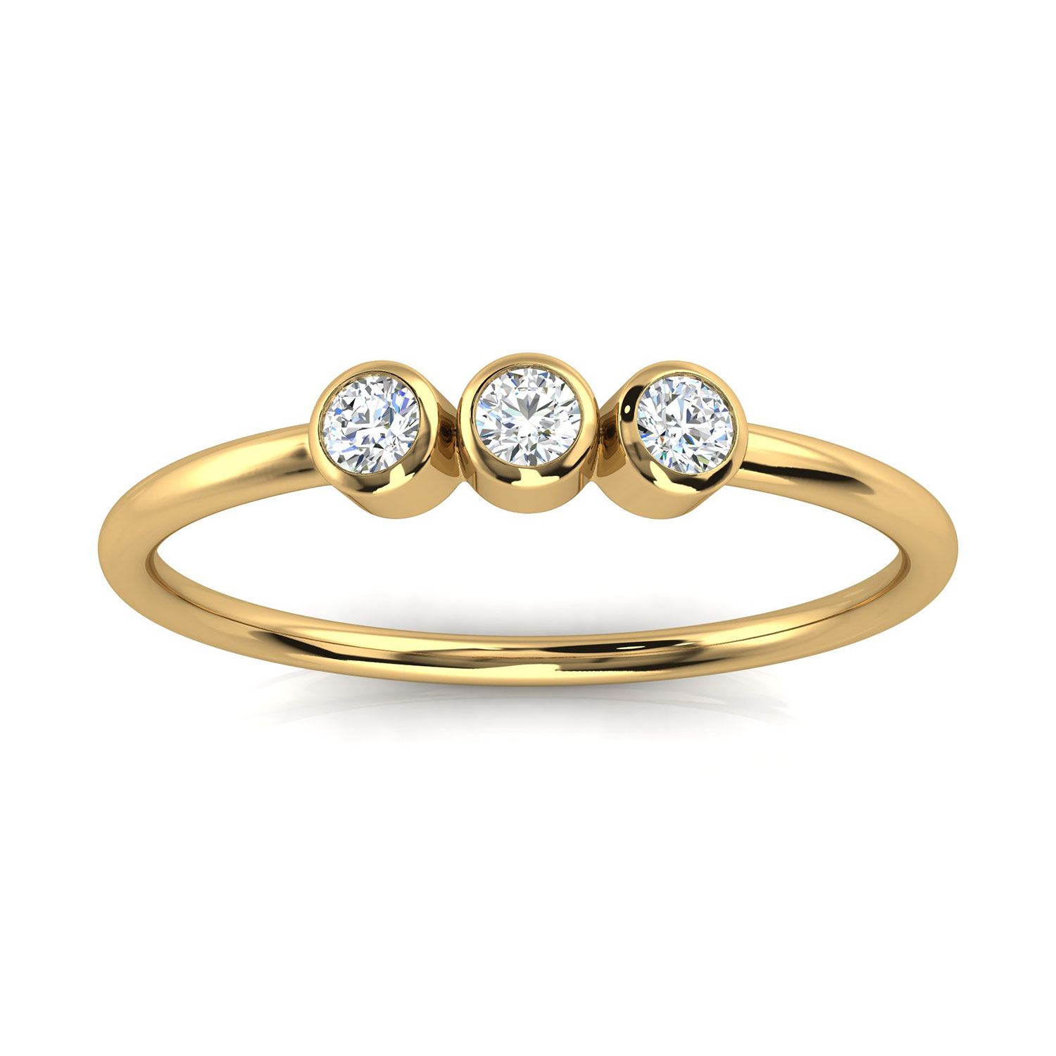 14K Yellow Gold Petite Almenthia Trilogy Diamond Ring ( 1/10 ct. tw)