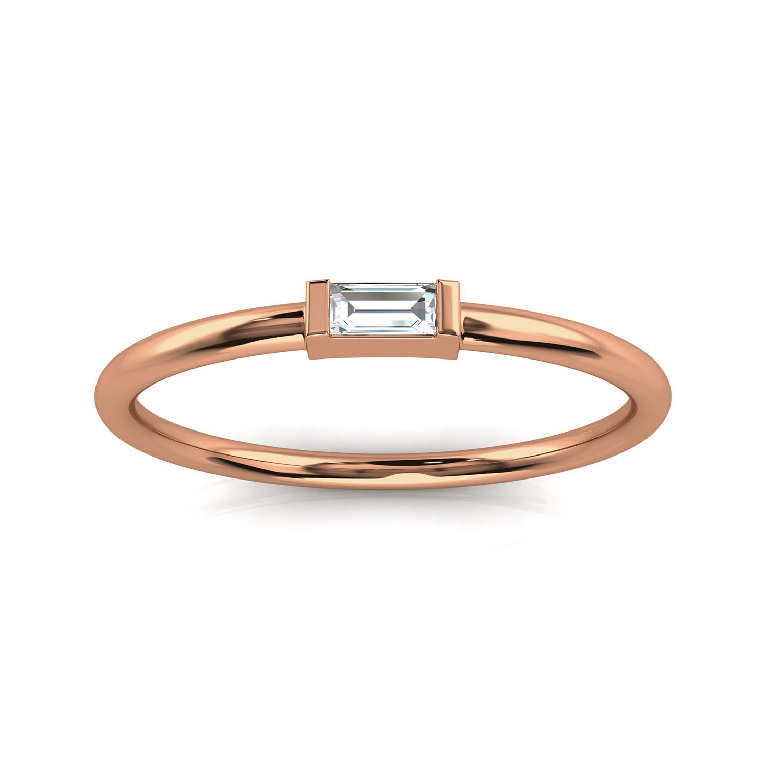 14K Rose Gold Minimalist Lilach Baguette Solitaire Diamond Ring ( Center- 0.06 Carat)