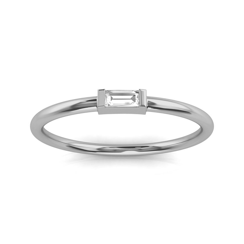 14K White Gold Minimalist Lilach Baguette Solitaire Diamond Ring ( Center- 0.06 Carat)