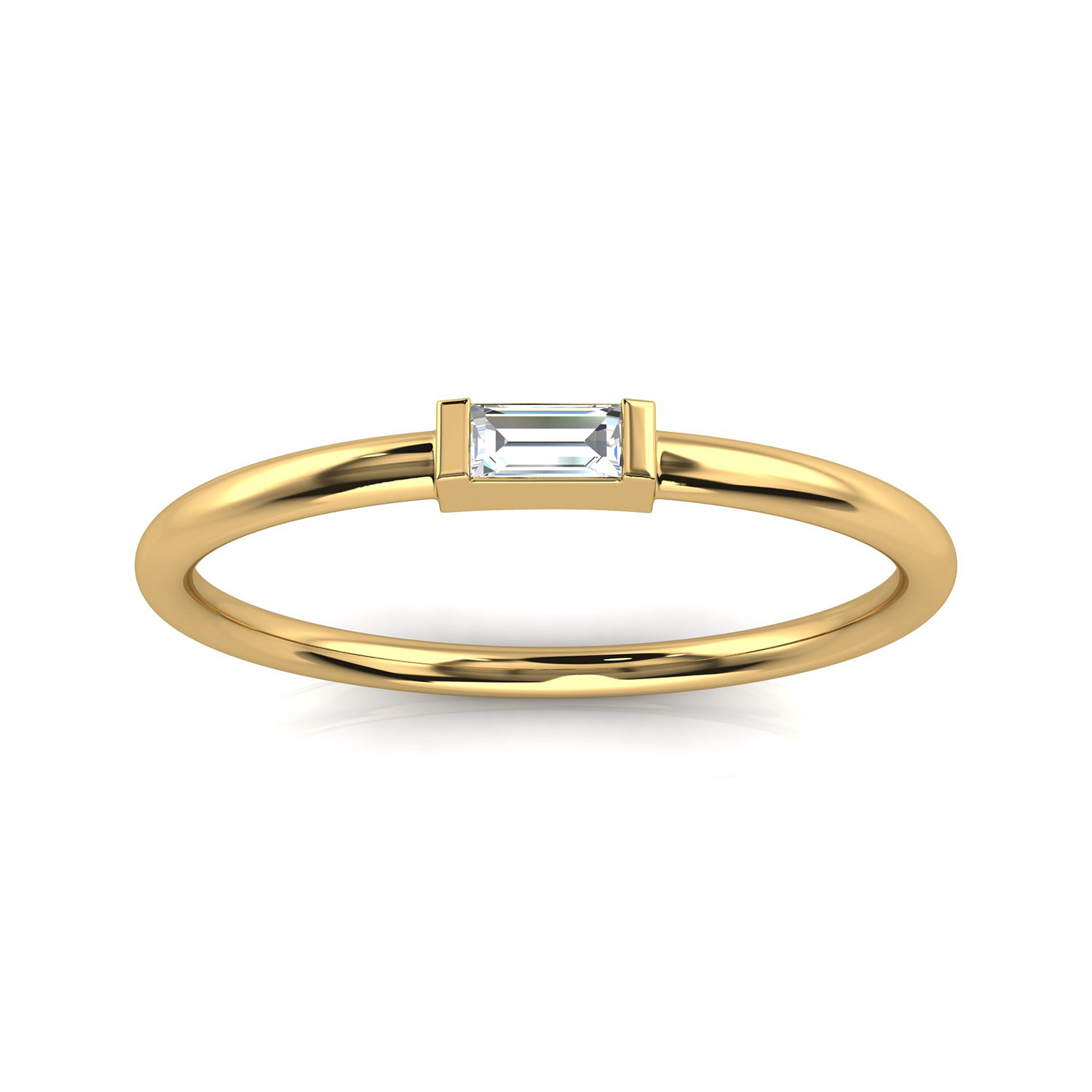 14K Yellow Gold Minimalist Lilach Baguette Solitaire Diamond Ring ( Center- 0.06 Carat)