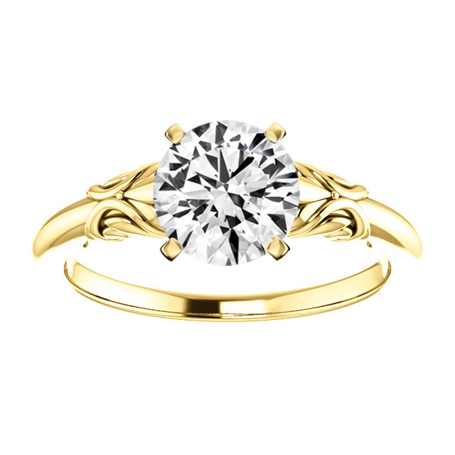 14K Yellow Gold Retro Style Solitaire