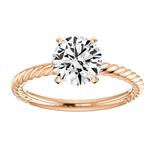 14K Rose Gold Braided Solitaire