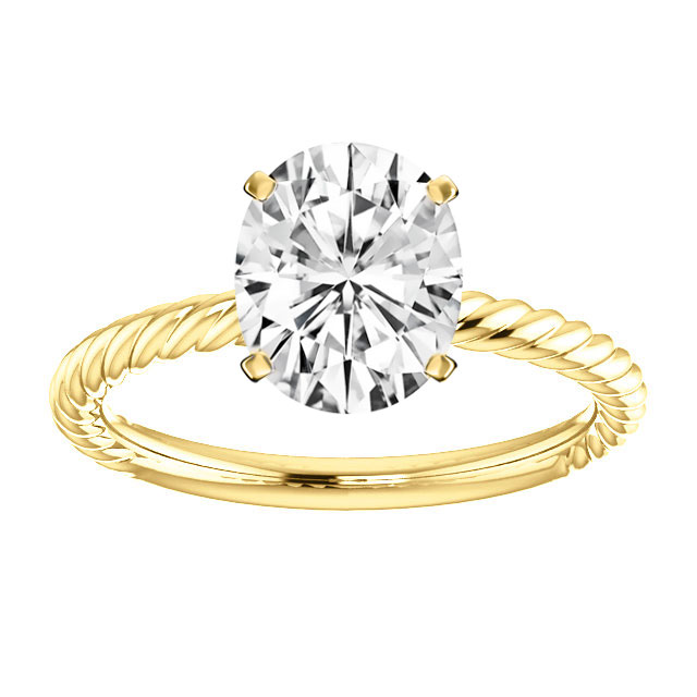 14K Yellow Gold Braided Solitaire